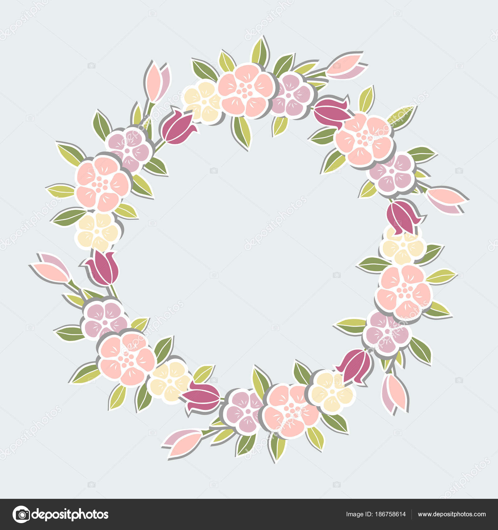 pink flowers wreath isolated blue background template flowers party