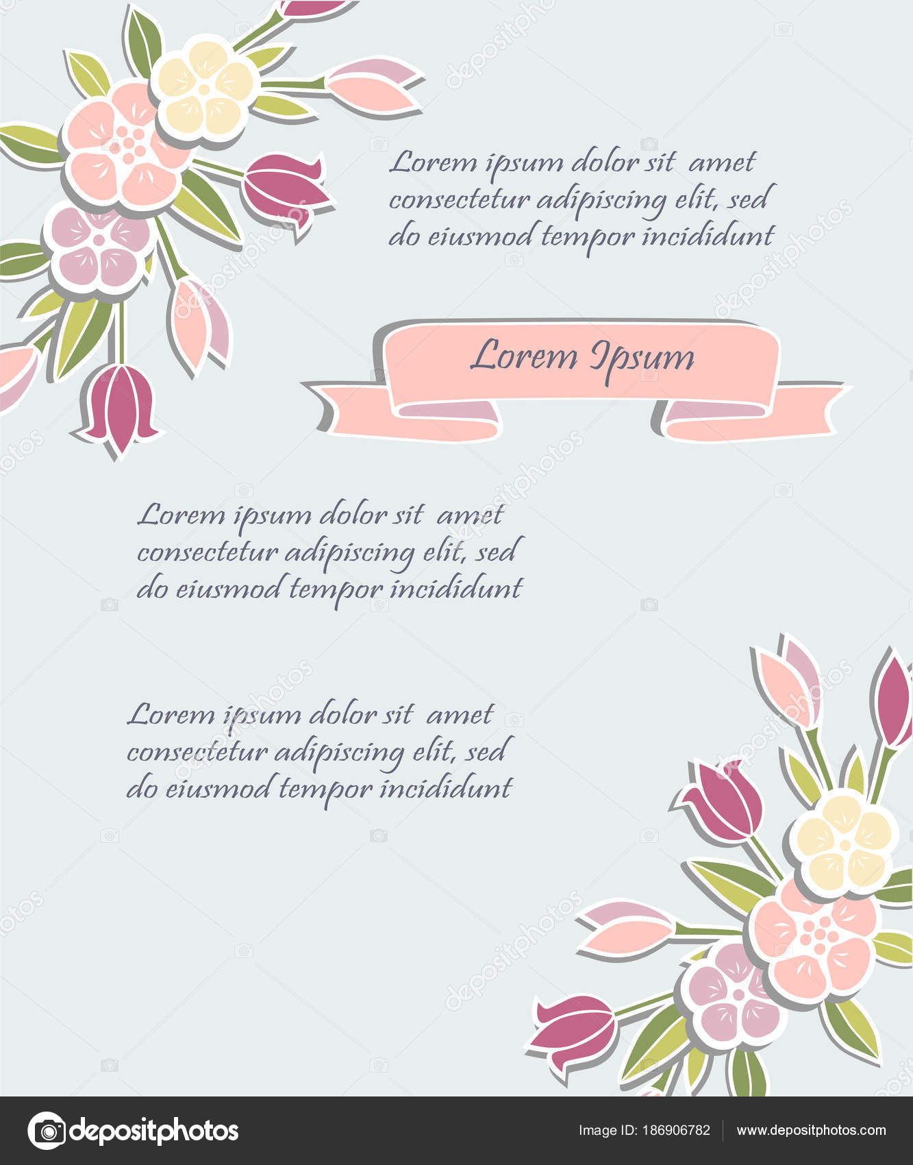 Template Flowers Party Invitation Greeting Card Postcard Girl ...