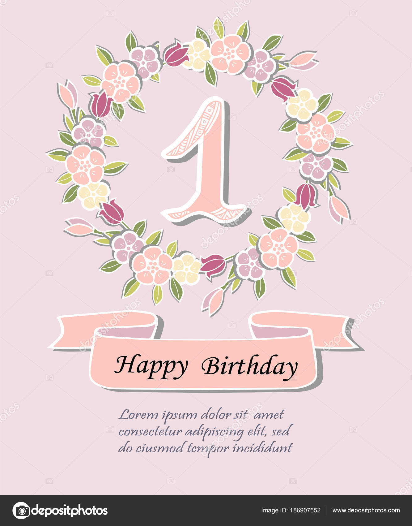 One floral wreath isolated background template baby birthday party template for baby birthday party invitation greeting card cute number one as first year anniversary logo patch sticker vector by nataliavarlamova stopboris Images