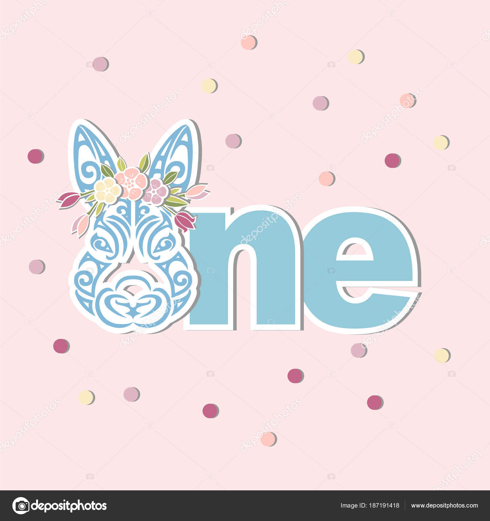 Vector Illustration One Bunny Head Flower Wreath Template Baby - Bunny birthday invitation template