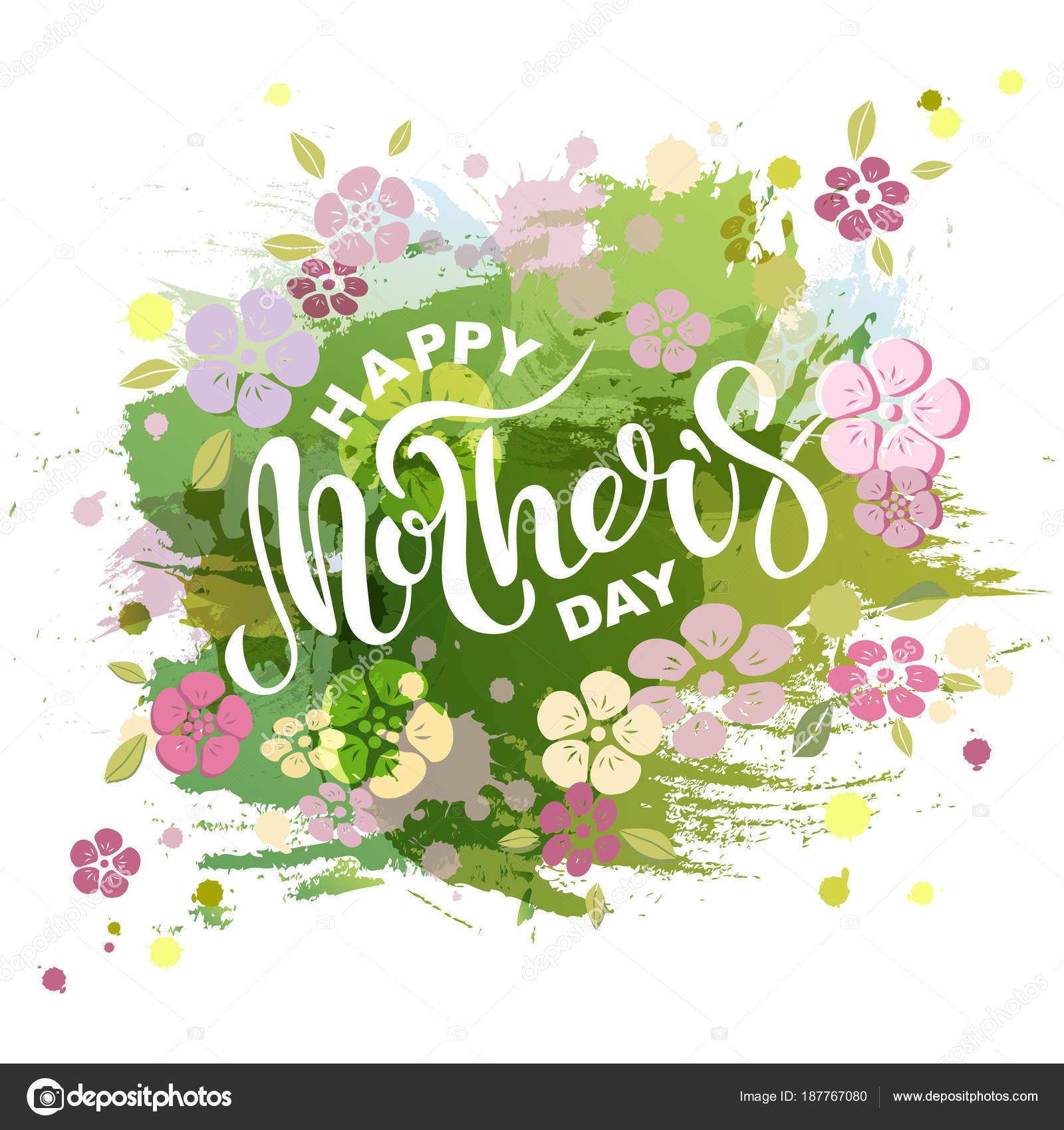 feliz día madre texto aislado sobre fondo imitación acuarela letras