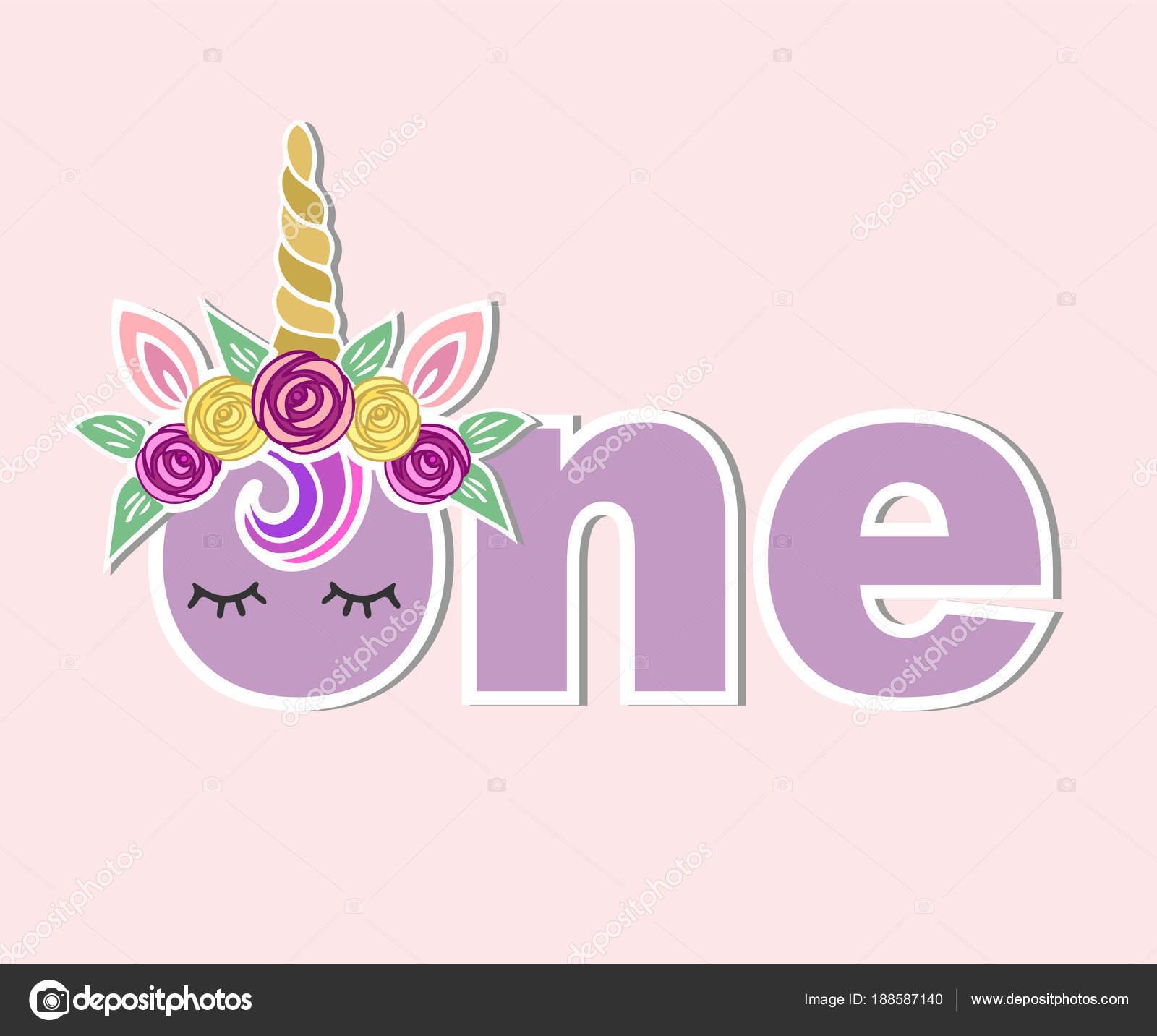 vector illustration one unicorn horn ears flower wreath template