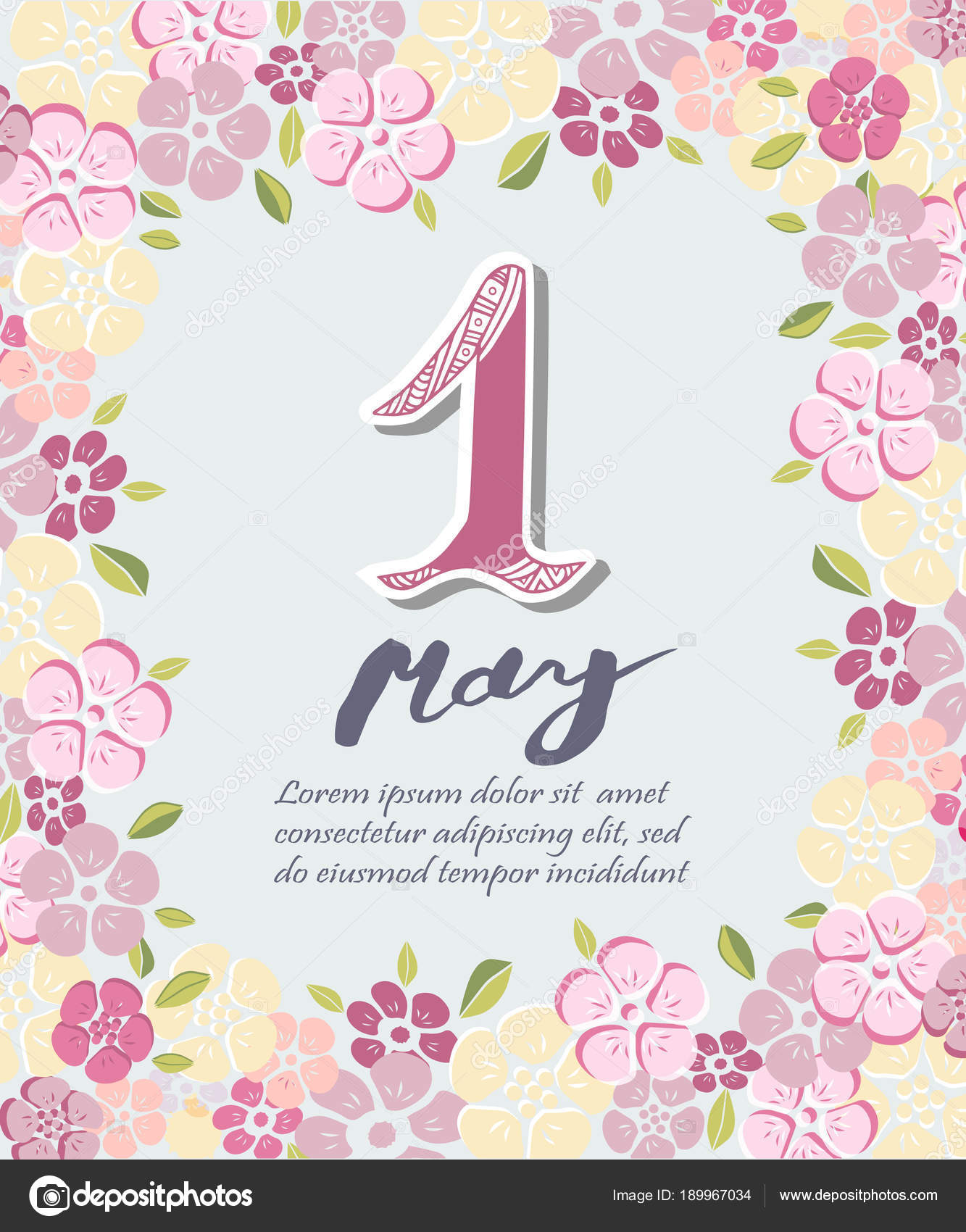First May Text Isolated Background Flowers Template International ...