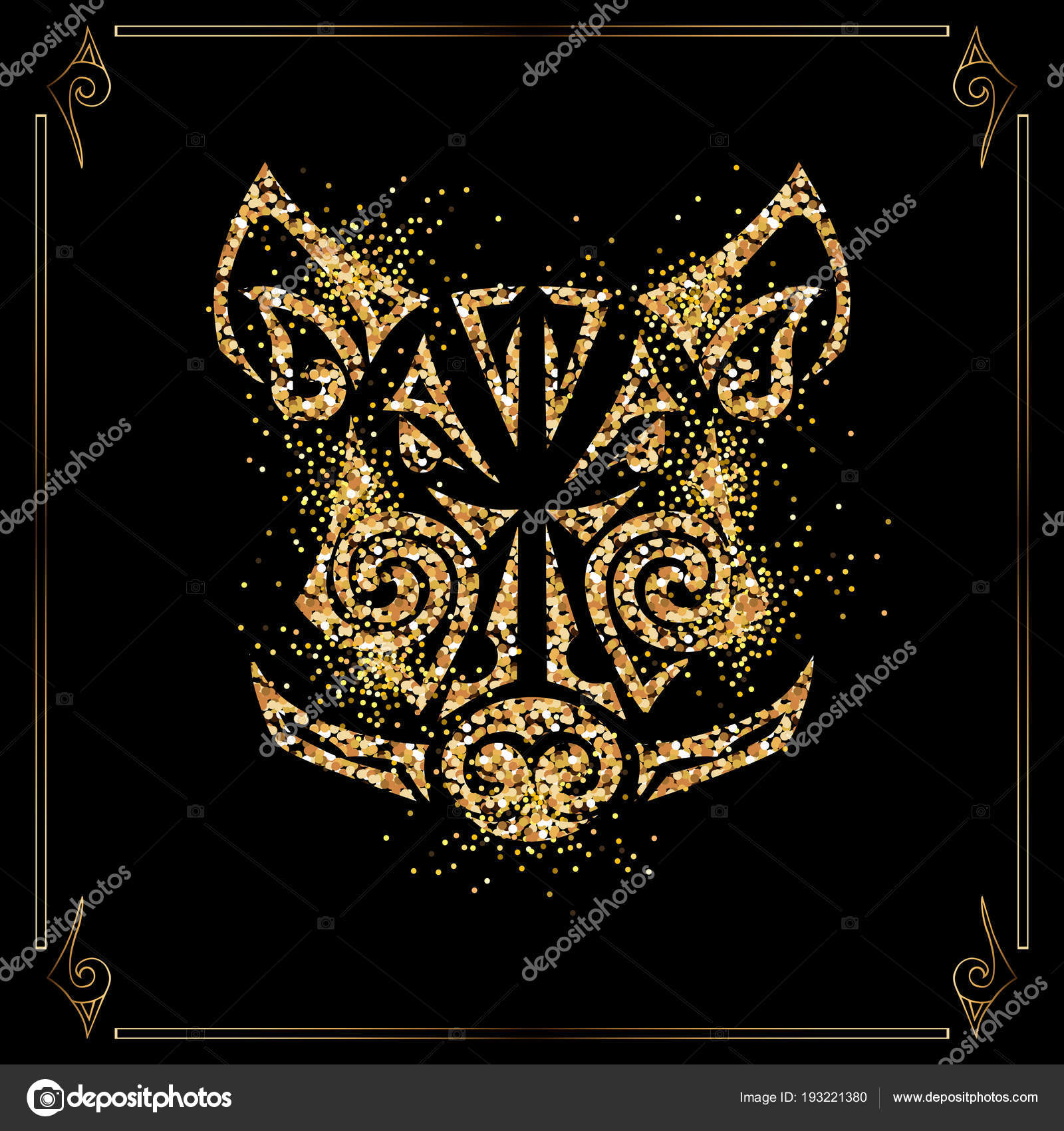 Golden Boar Pig Head Isolated Black Background Symbol Chinese 2019