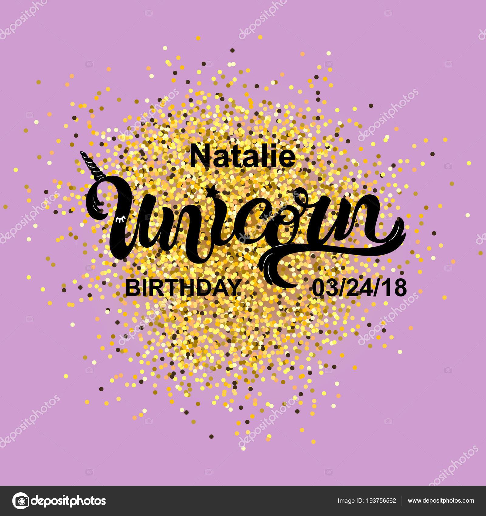 Cumpleaños Unicornio Mágico Manuscritos Letras Unicornio Como Parche ...