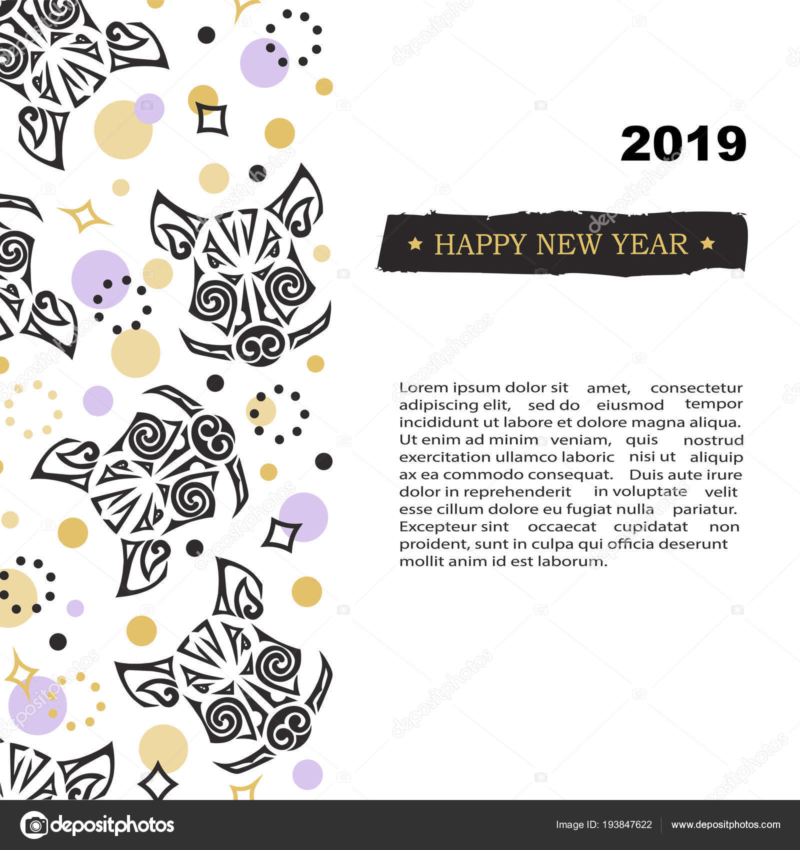 2019 New Year Card Pig Boar Head Template Party Invitation Stock