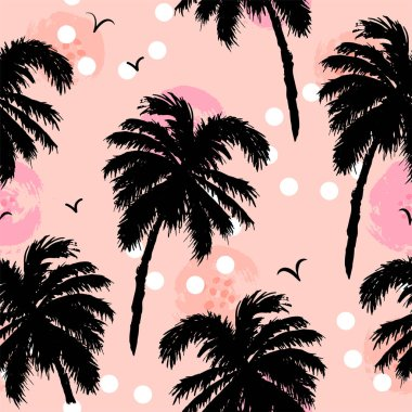 Seamless pattern with black palm trees on pink background. Vector illustration.
