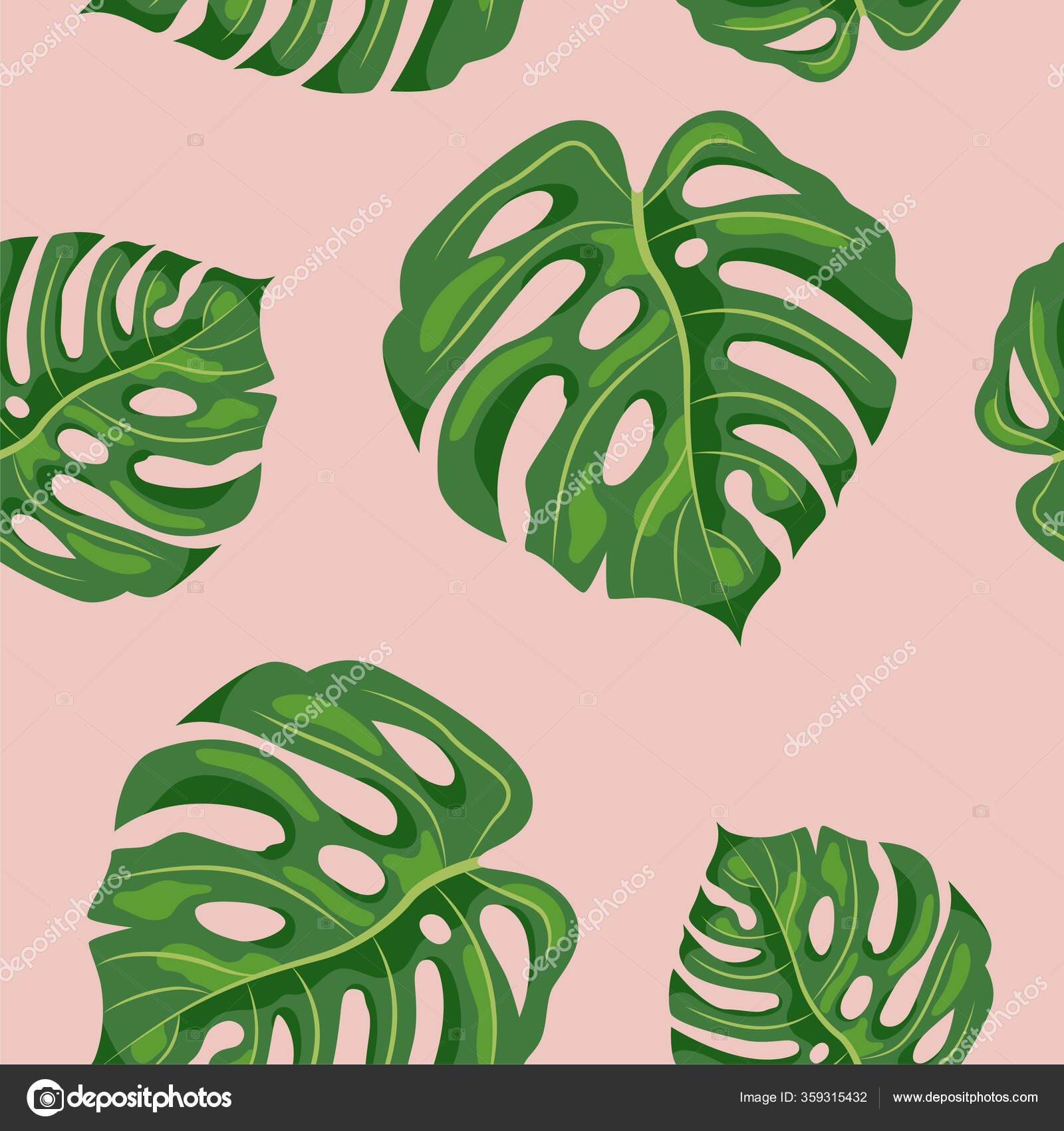 Seamless Pattern Tropical Leaves Monstera Vector Illustration Stock Vector C Nataliavarlamova 359315432 Tropical leaf of monstera plant isolated on white background. https depositphotos com 359315432 stock illustration seamless pattern tropical leaves monstera html