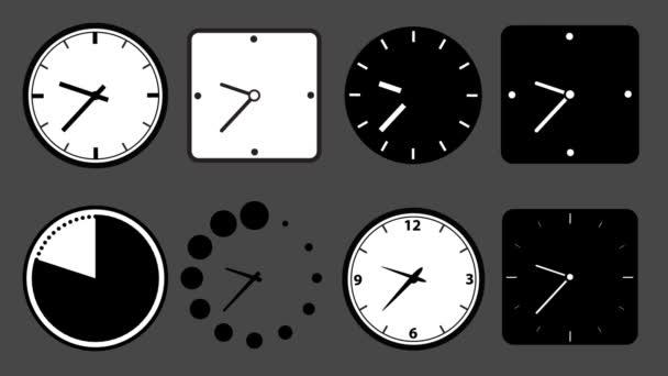 Ikona animace různých hodiny, smyčky a alfa kanál