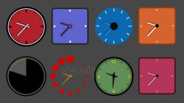 Icon Animation of Different Clock, loop and alpha channel