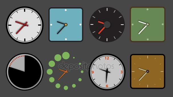 Különböző óra ikon élénkség, hurok és alfa-csatornák