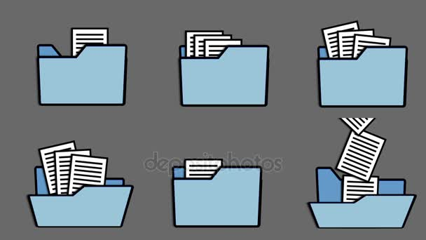 animation of folder icons and printed pages, loop and alpha channel