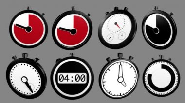 3D Icon Animation: mixed stopwatch Icons, loop and alpha channel