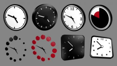 3D Icon Animation: mixed Clock icons, loop and alpha channel
