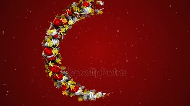 vánoční věnec v podobě kruhu, animovaný na červeném pozadí. částice animace.