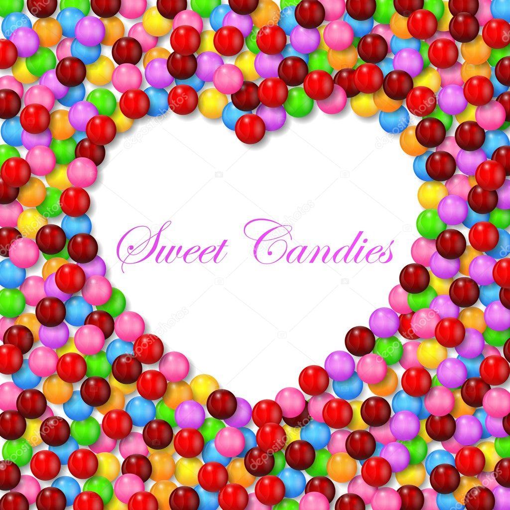 Fondo de amor con dulces dulces varios en el marco — Vector de stock ...