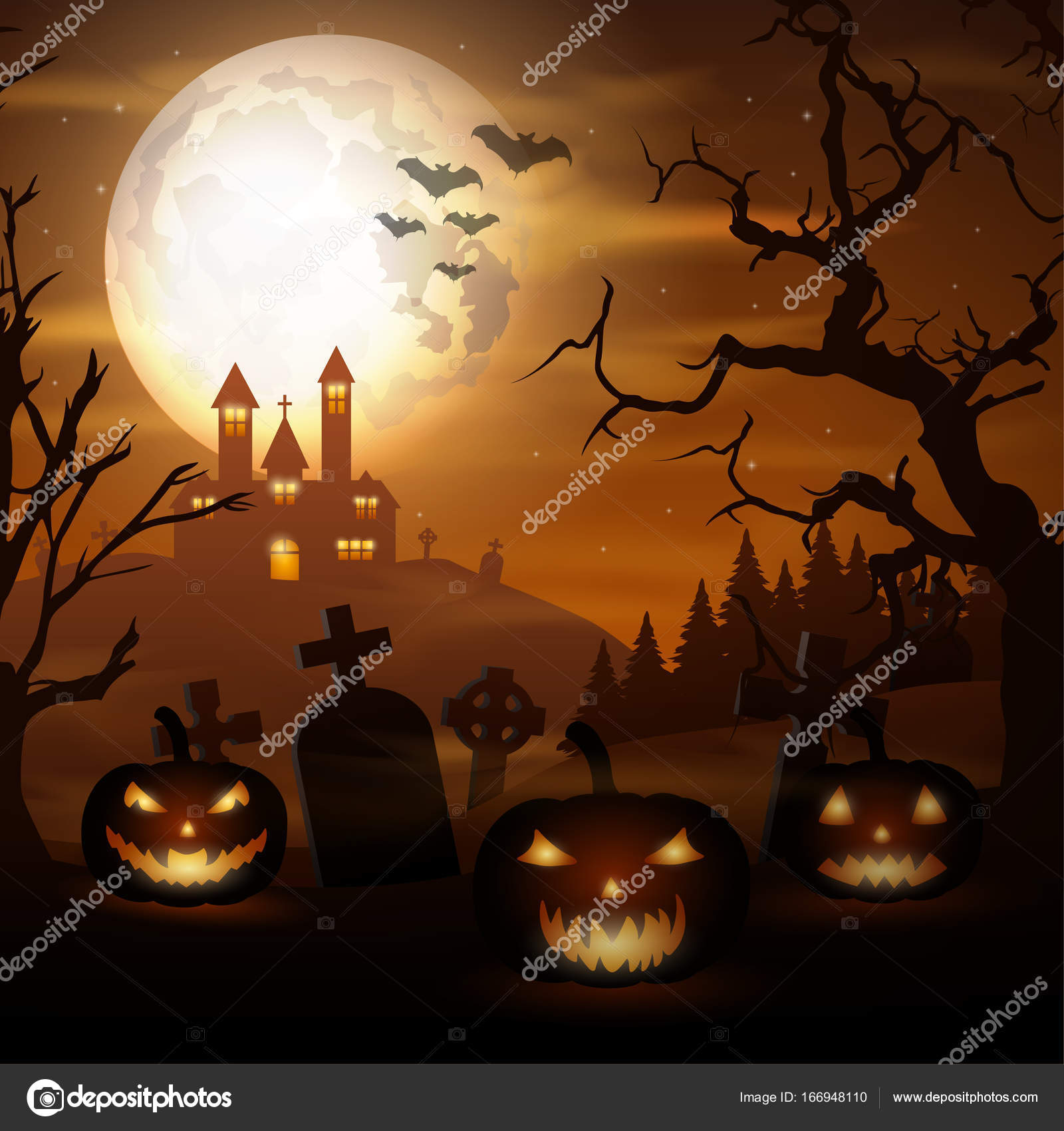 halloween background with pumpkins and scary church on graveyard stock vector
