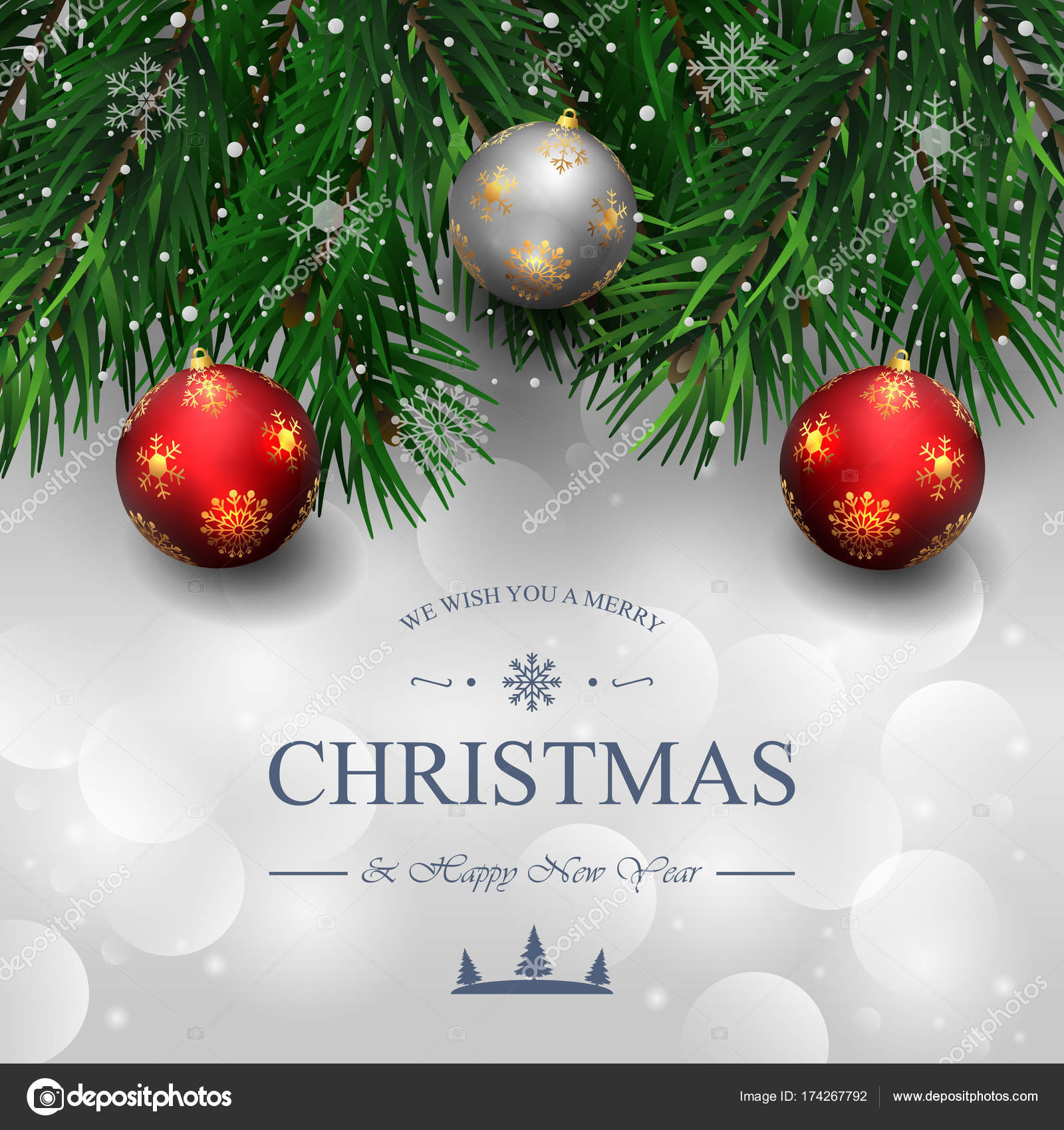 Albero Di Natale Yahoo.Buon Natale E Felice Anno Nuovo Sfondo Con La Sfera Di Natale E