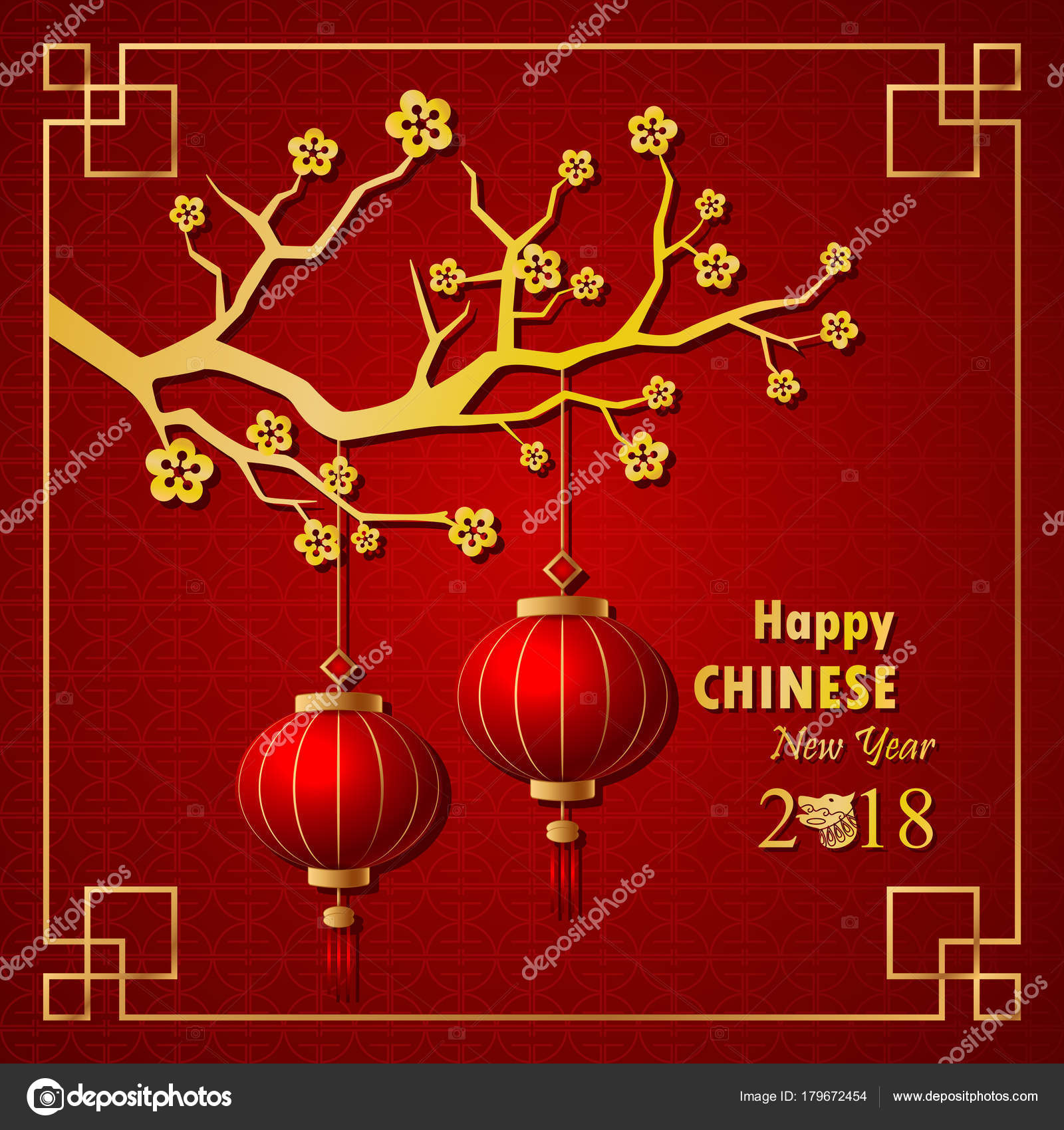 vector illustration happy chinese new year 2018 background year dog stock vector