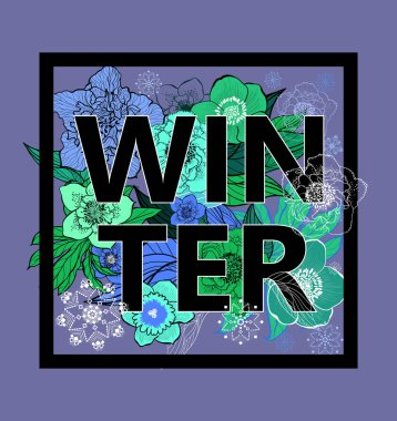 Winter background.Composition of hand-drawn winter flowers for design winter postcards, brochures, banners, flyers. The inscription winter.