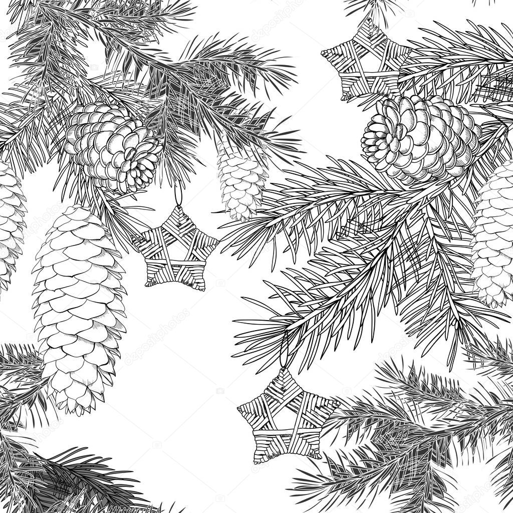 Pattern Christmas.Winter festive background, winter wood, fir, cones, stars
