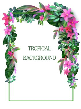 tropical forest and flowers.vector