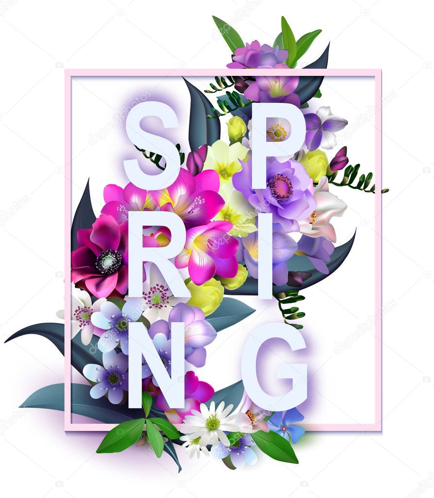 Floral Spring Graphic Design - with Colorful Flowers - for t-shi