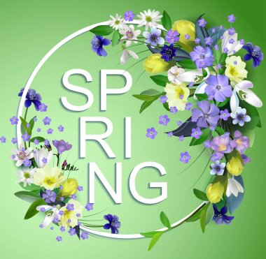 spring primroses card with space for text in a round frame. spri