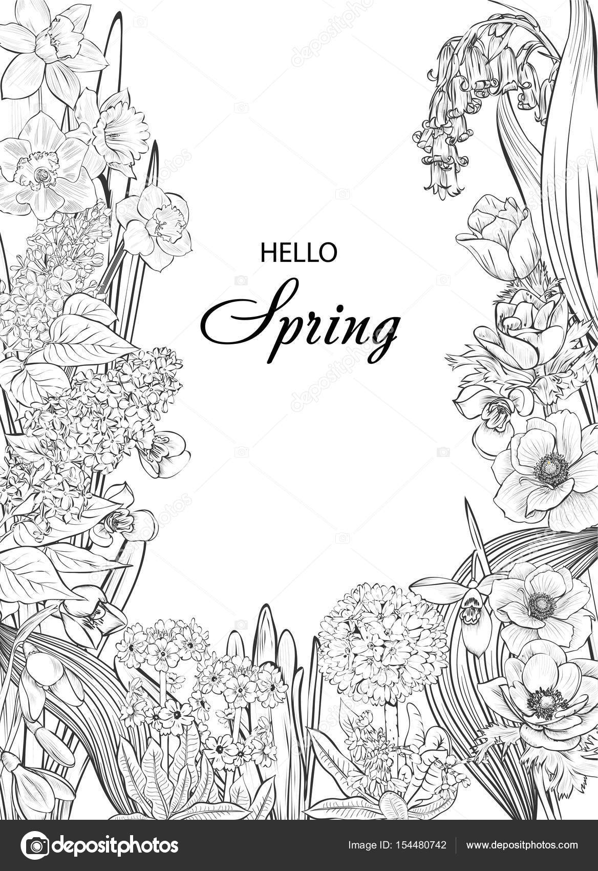 Floral Wreath With Spring Flowers Vector Vintage Botanical