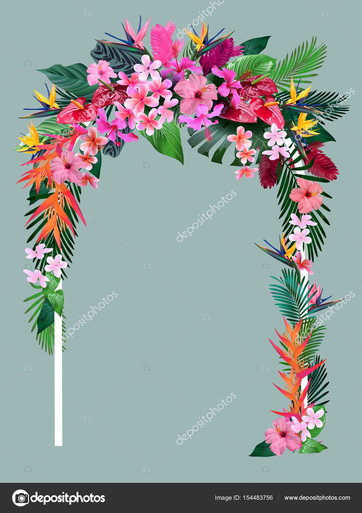 wedding arch from tropical flowers for invitations to the wedding