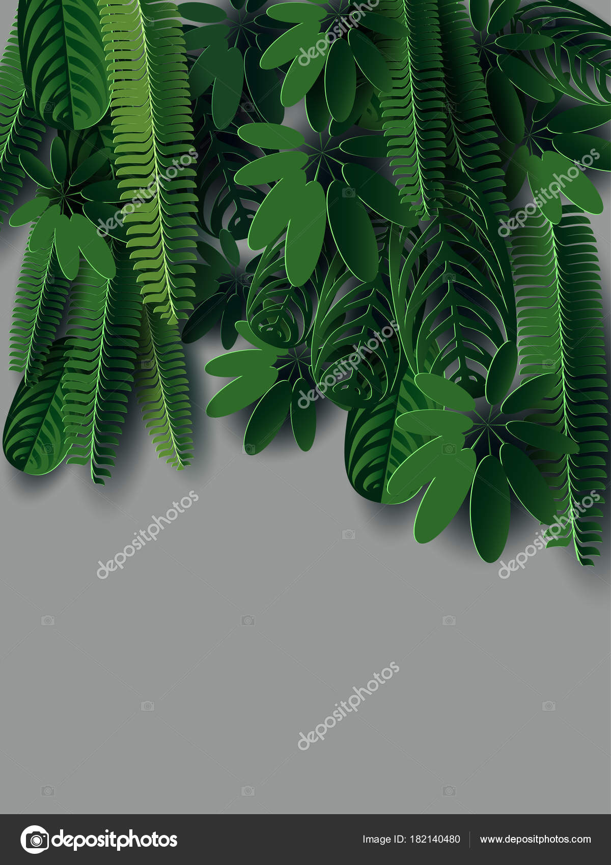 Composition of tropical leaves in the style of cut paper for spa design, exotic travel, holidays, recreation, wedding