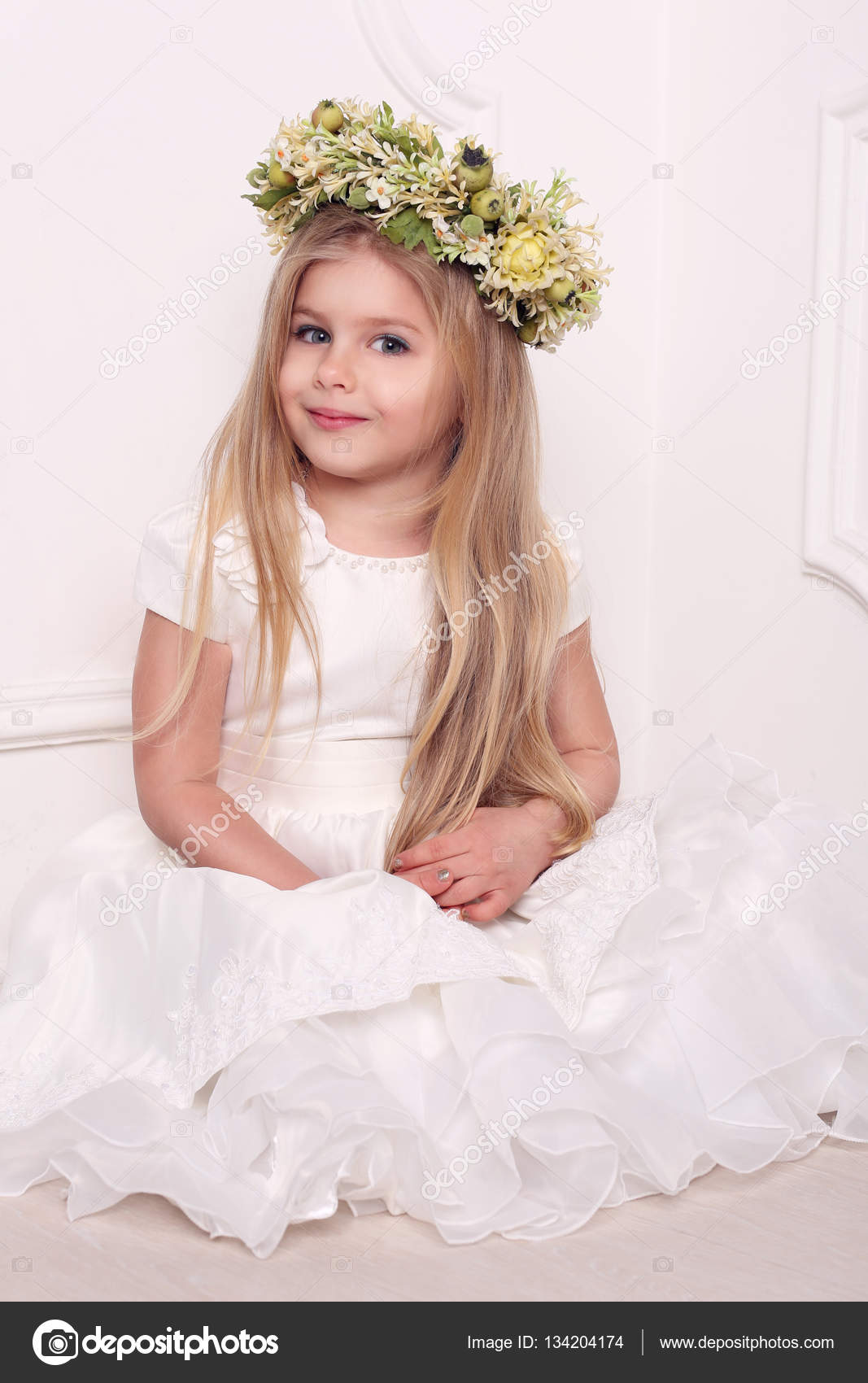 Little lady in dress with head wreath white background stock little lady in dress with head wreath girls dresses kids clothes wedding dress bridal head wreath baby wearing cute baby floral crowns izmirmasajfo Image collections