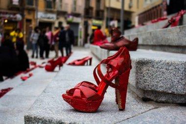 CAGLIARI, ITALY - NOVEMBER 25, 2017: Zapatos rojos by Elina Chauvet near Piazza Garibaldi - Sardinia