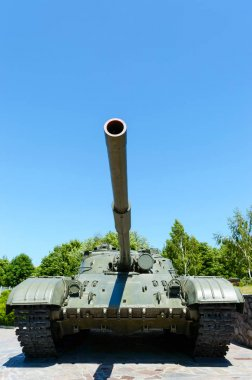 Military equipment. Old tank. A monument in the park.