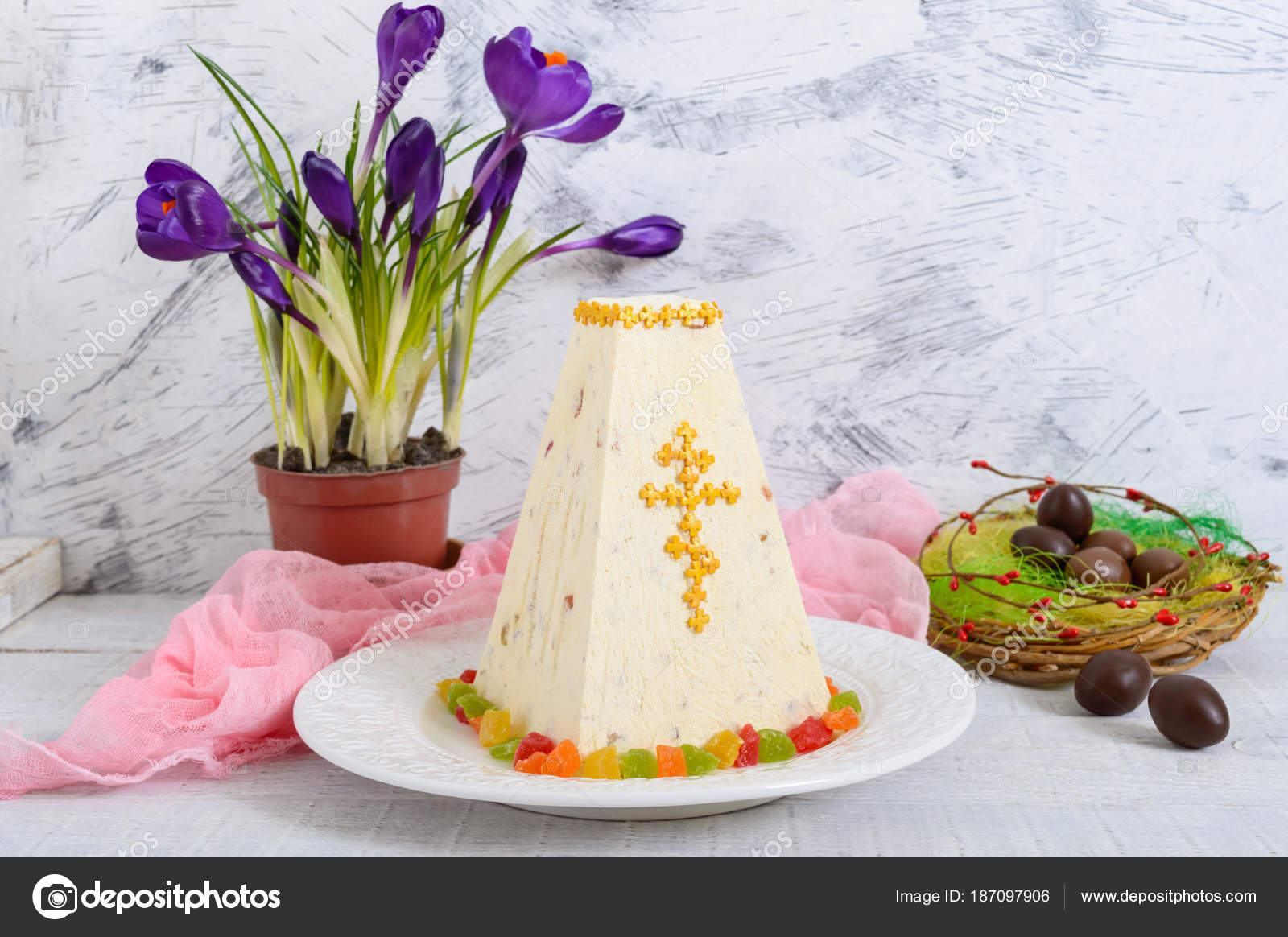 Traditional Curd Easter Cake Candied Fruits Chocolate Eggs Spring