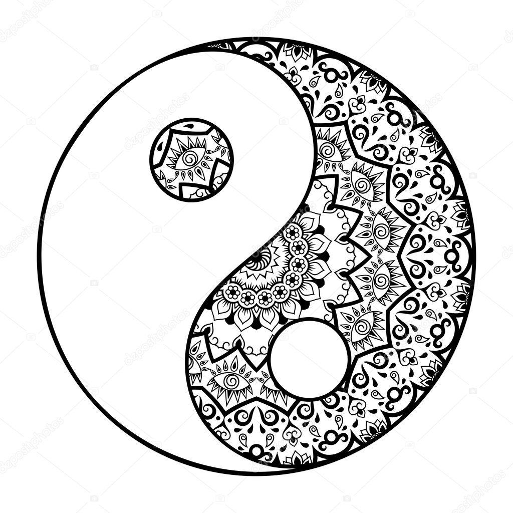 A Circular Pattern In The Form Of A Mandala Yin Yang Decorative