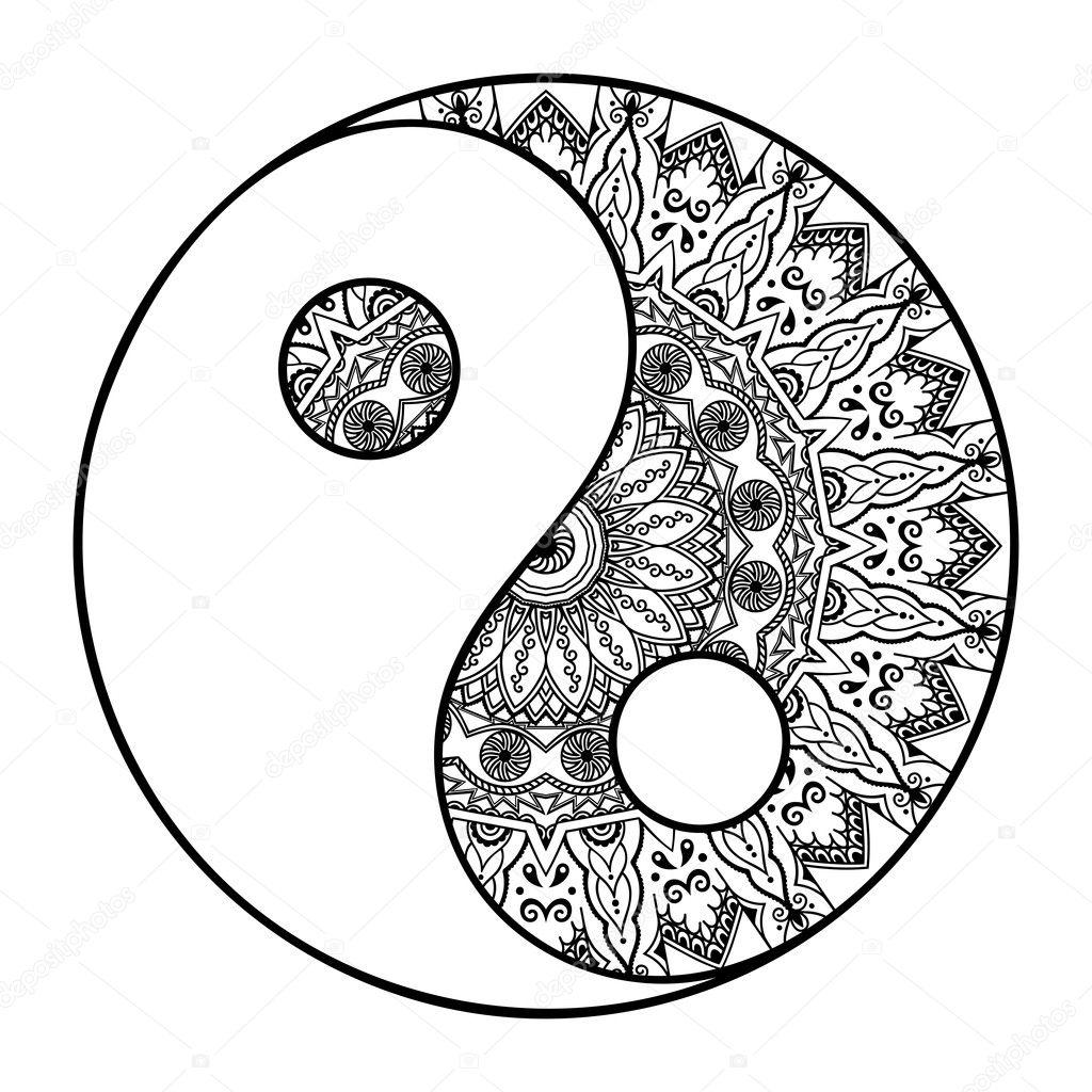 Yin Yang Mandala Tatuaje Un Patrón Circular En Forma De Un Mandala