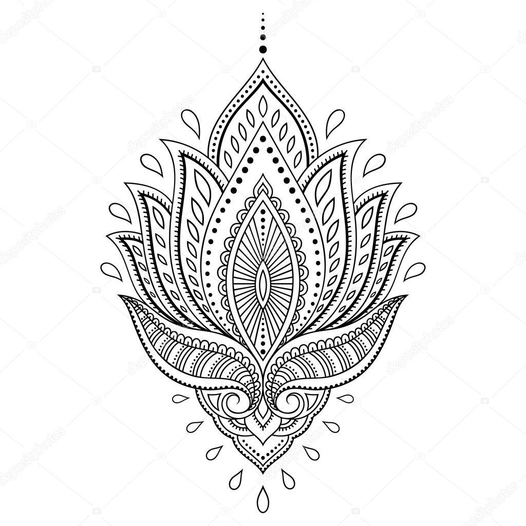 henna tattoo blume vorlage im indischen stil ethnische. Black Bedroom Furniture Sets. Home Design Ideas