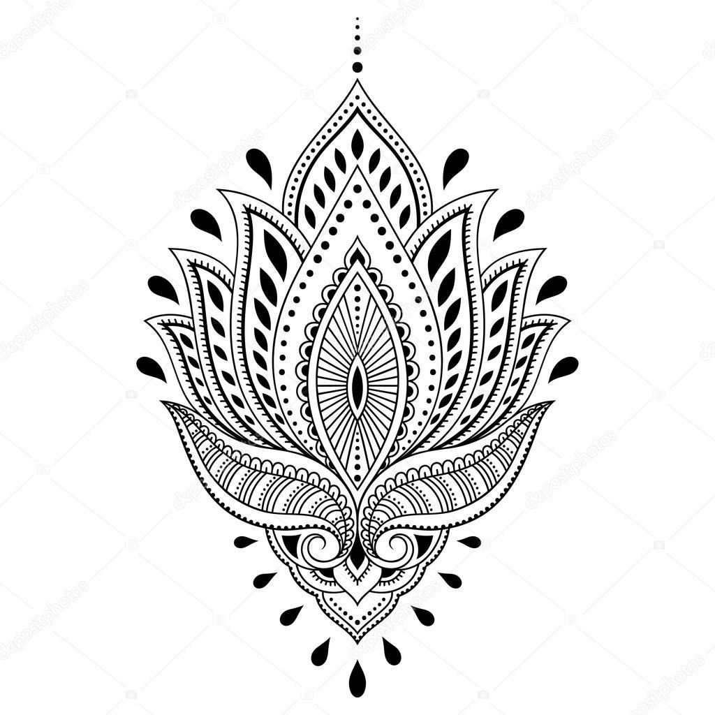 Modello di fiore del tatuaggio del henn in stile indiano - Modello di base del fiore ...