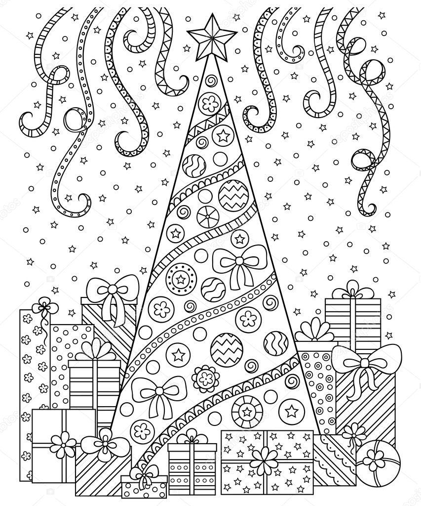 Doodle el patrón en blanco y negro. Adornos navideños, árbol de ...