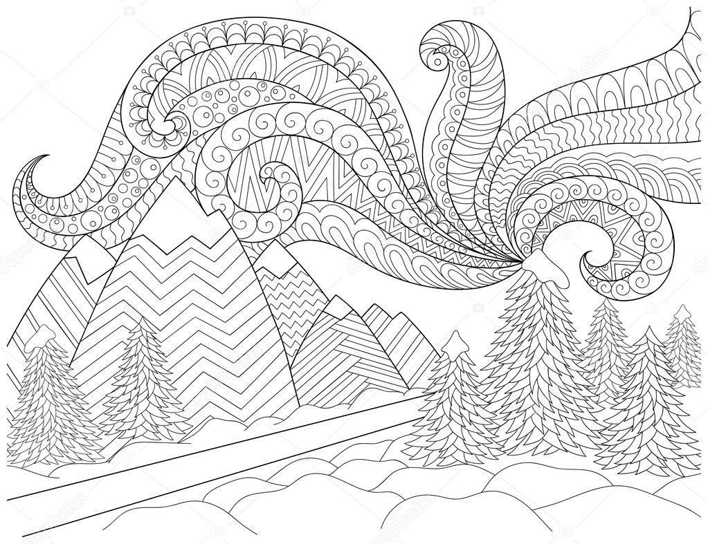 Doodle pattern in black and white. Winter Landscape - road, trees, mountains, northern lights, snow drifts. Landscape Pattern for coloring book. Winter mood - coloring book page for children and adults.