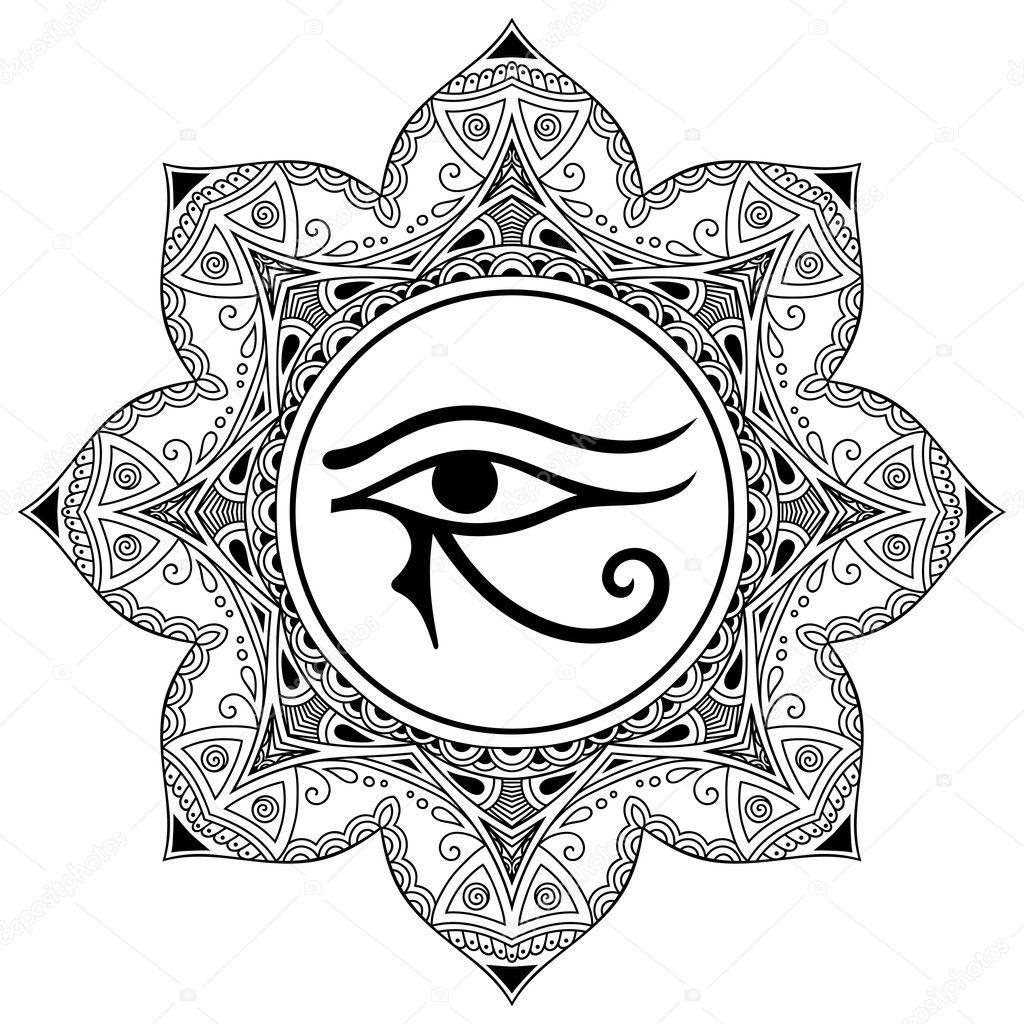 Patrón Circular En Forma De Mandala El Antiguo Símbolo Del Ojo De