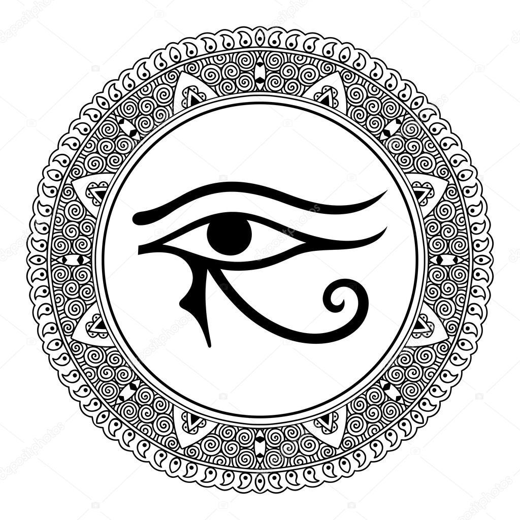 Eye of horus reverse moon eye of thoth stock vector lavalova circular pattern in the form of mandala the ancient symbol eye of horus egyptian biocorpaavc Gallery