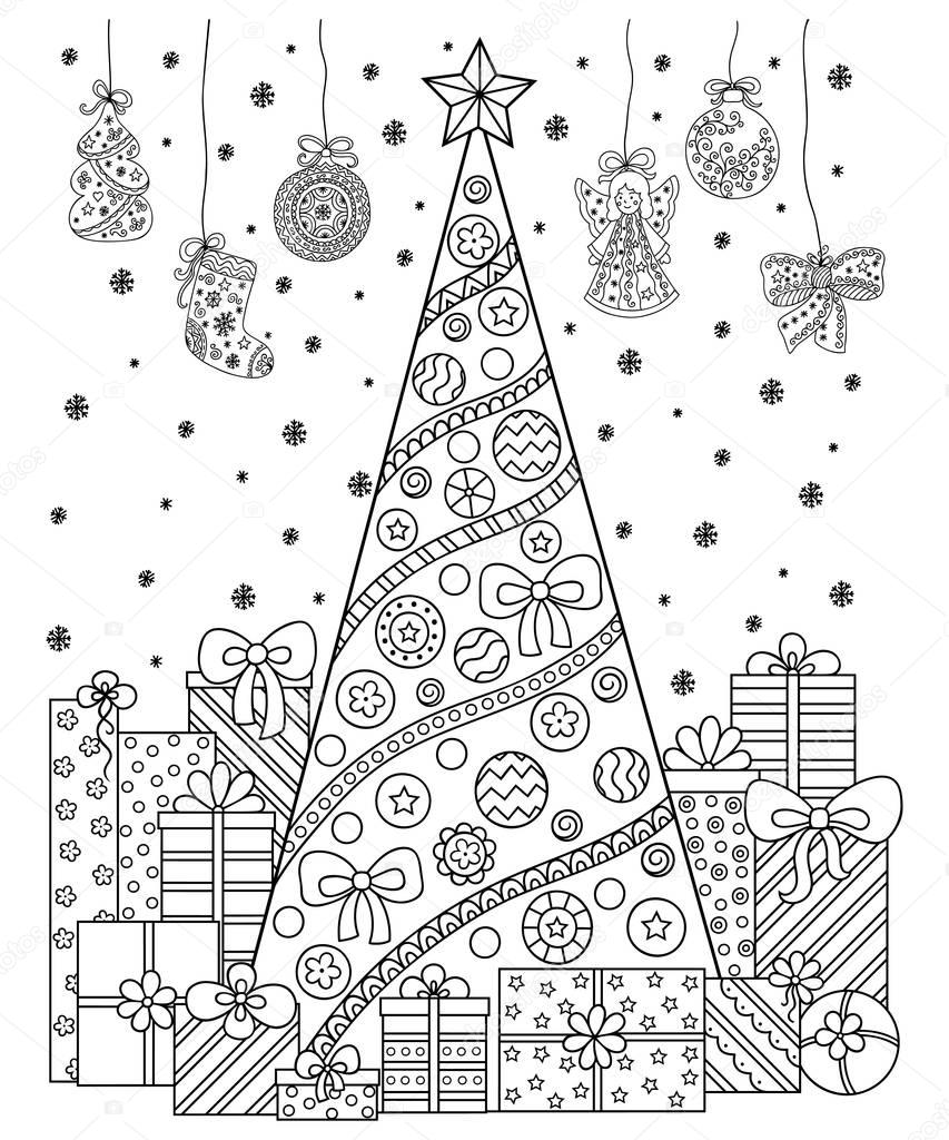 Doodle Pattern In Black And White Christmas Decorations Christmas