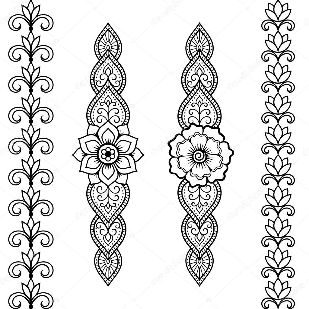 Set Of Seamless Borders For Design And Application Of Henna
