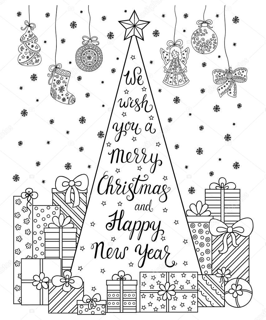 Patrón de Doodle. Letras le deseamos una feliz Navidad y feliz año ...