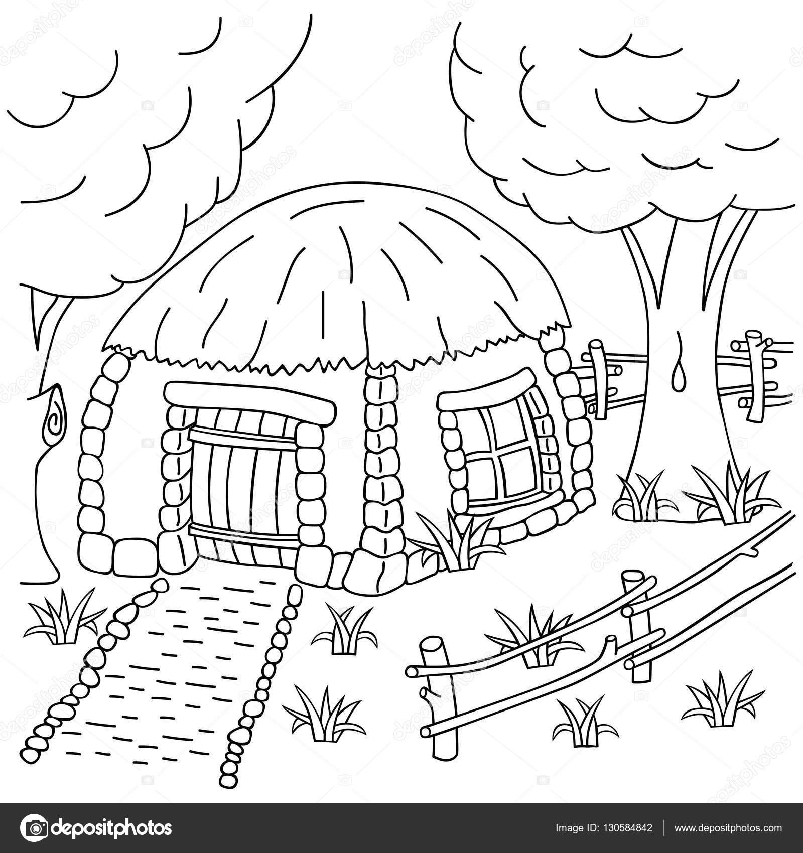 Hand-zeichnen Dorfhaus hinter dem Zaun. Buch-Malvorlagen für Kinder ...