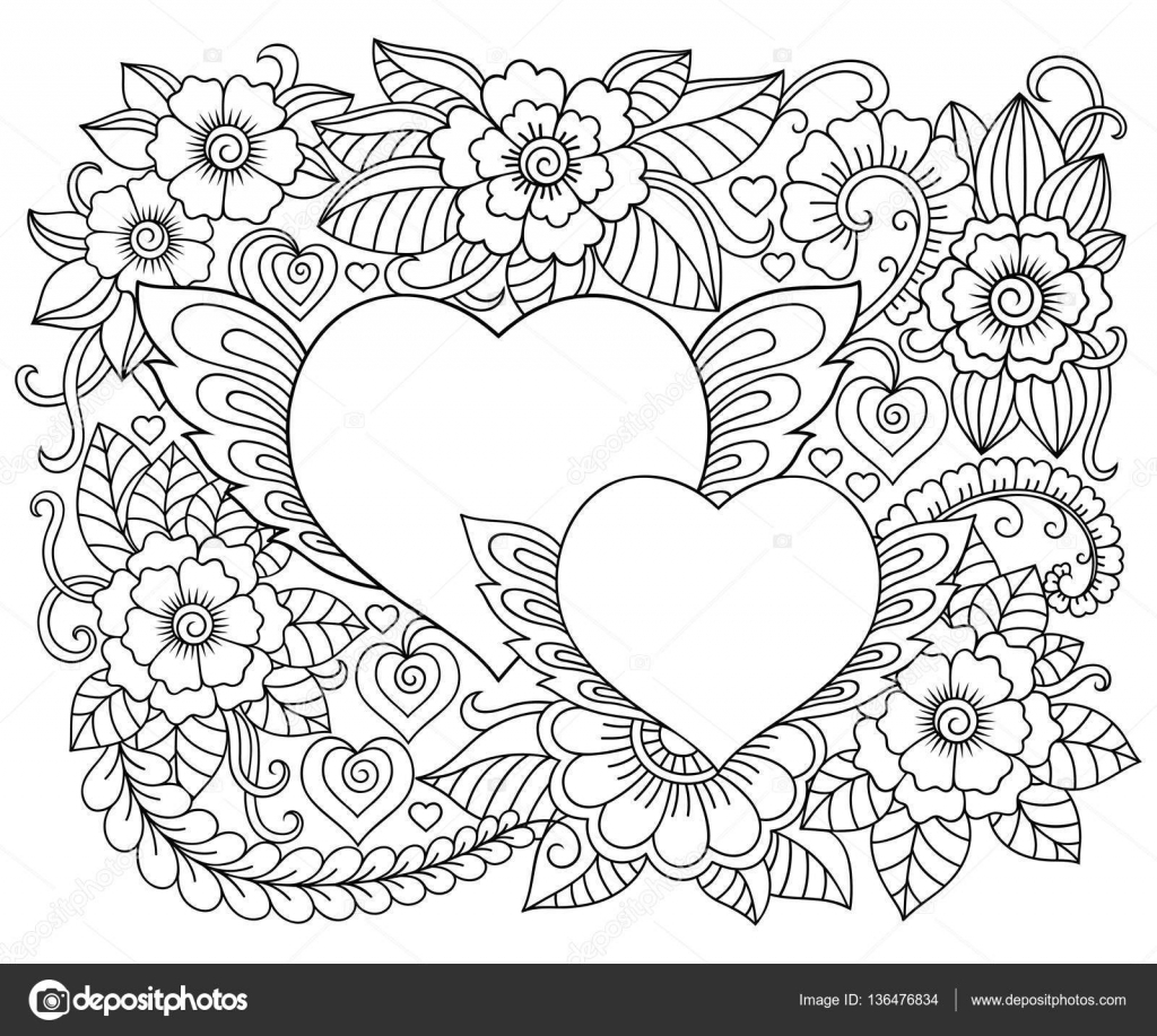 afbeelding van bloemen en hart voor valentijnsdag  bloemmotief voor coloring boek  doodle