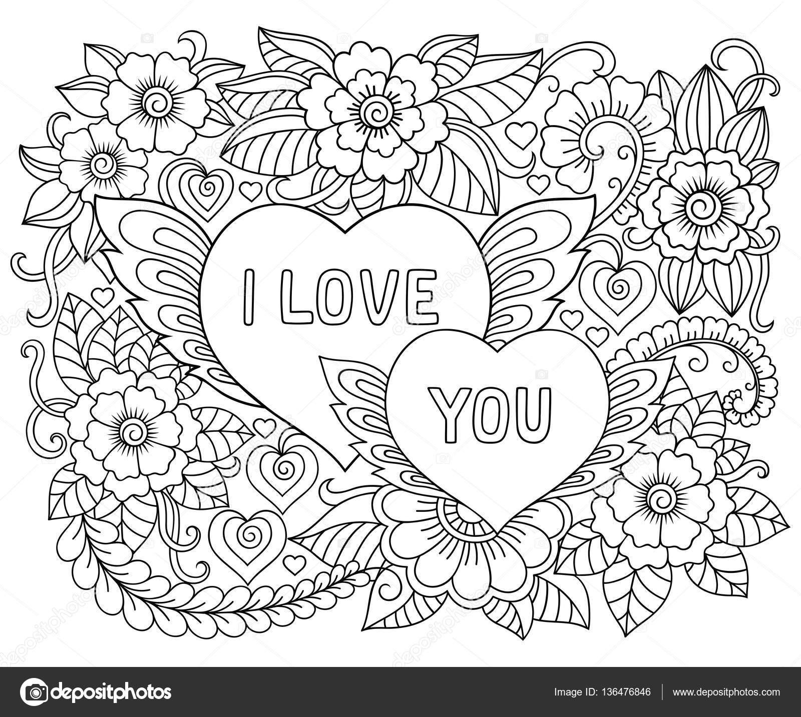 Ilustración de flores y corazón para el día de San Valentín. Patrón ...