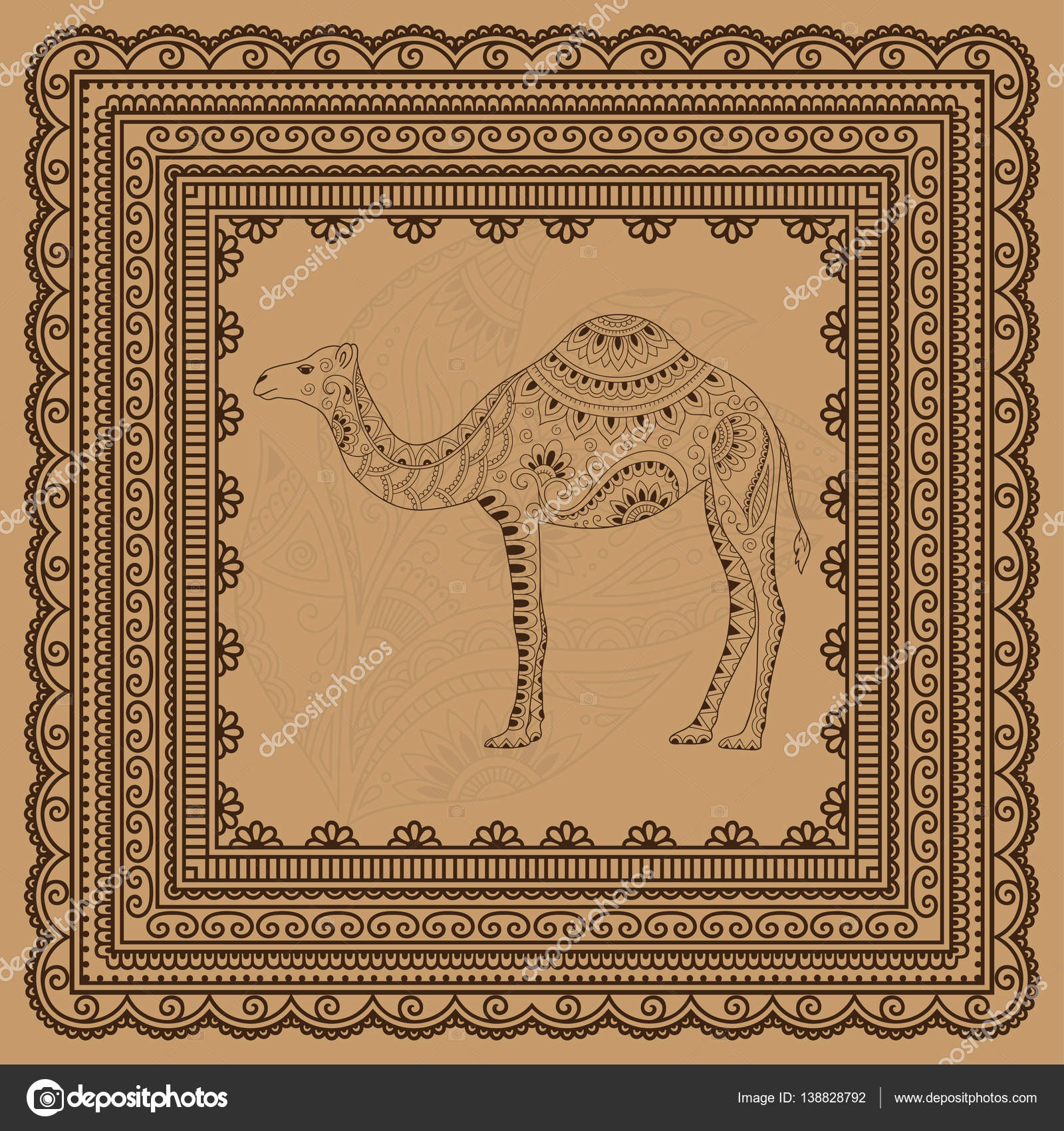 Doodle Stylized Camel And Seamless Borders For Design And